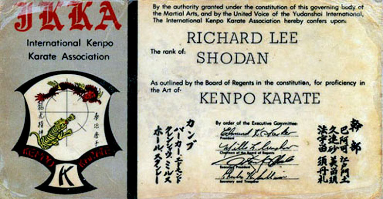 Lee's certification card for the rank of Shodan (black belt) issued by Ed Parker through the International Kenpo Karate Association (IKKA) in 1968.