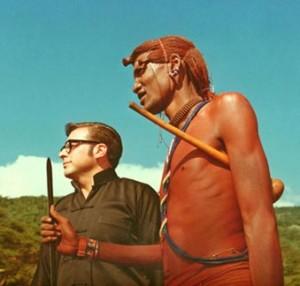 Lee with a Masaai warrior - Kenya 1976
