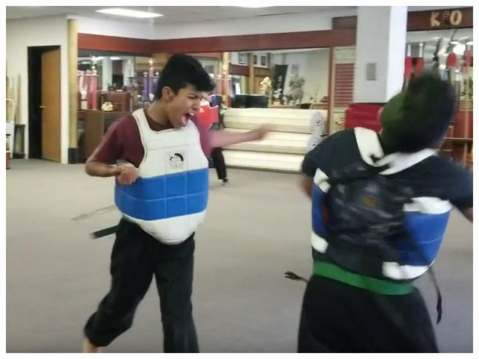 Kushal Golechha practices a Mass Attack with partner, Grant Gallegos