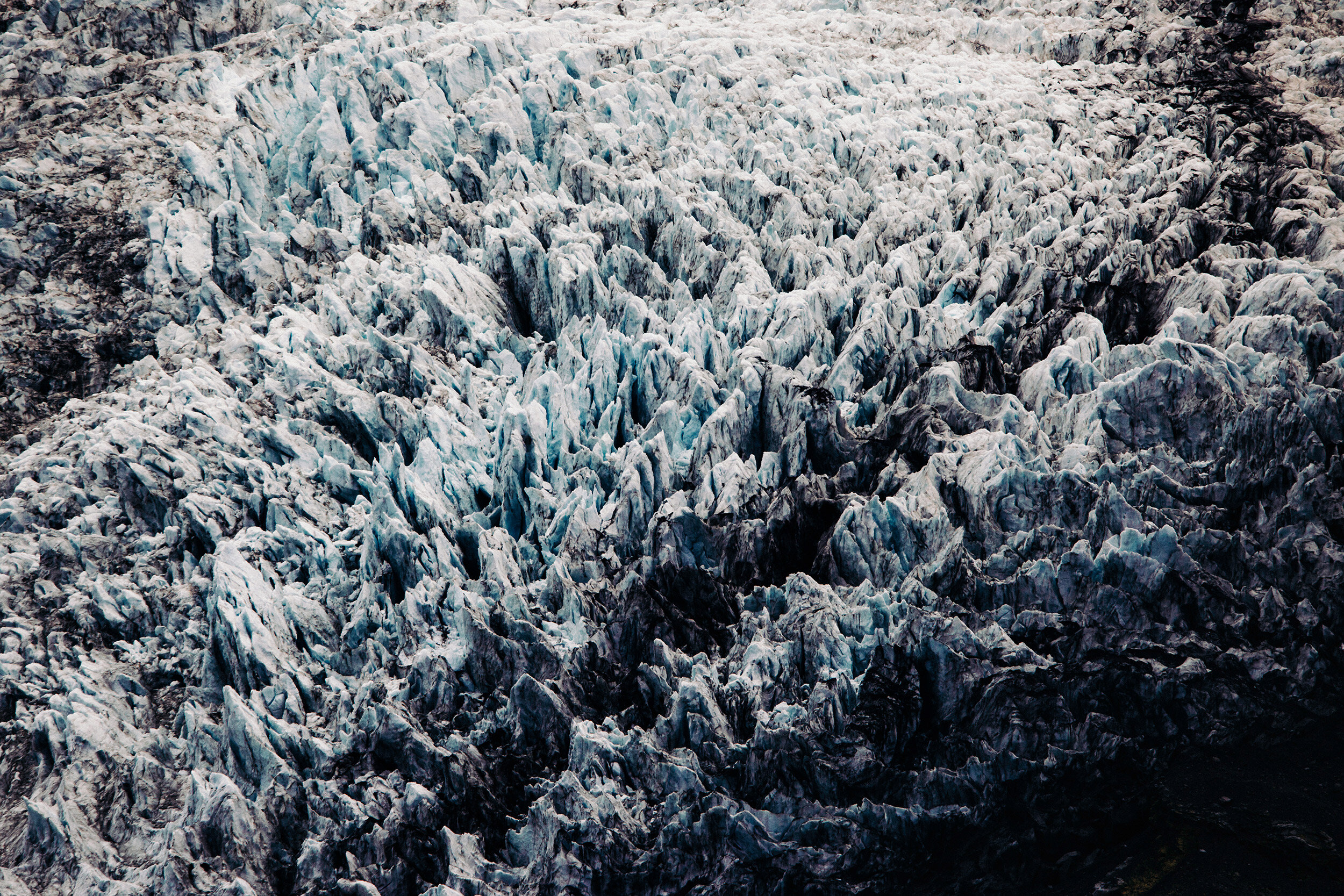 Massive glacier closeup in Iceland's eastern region.