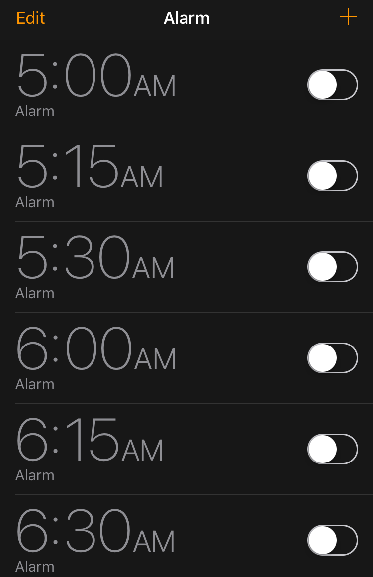 Early morning options. My opinion is that every minute counts this early in the morning. #FactorIn9MinuteSnoozes