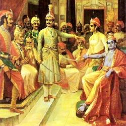 Krishna mediates between the Pandavas and the Kauravas.