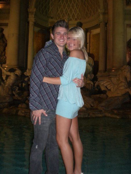 In front of the Trevi Fountain in Vegas. 3 years later, we would take the same picture in front of the actual trevi fountain in Rome.