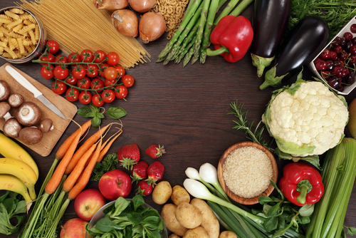 Food - Fruits and Veggies and pasta and rice with cutting board.jpg