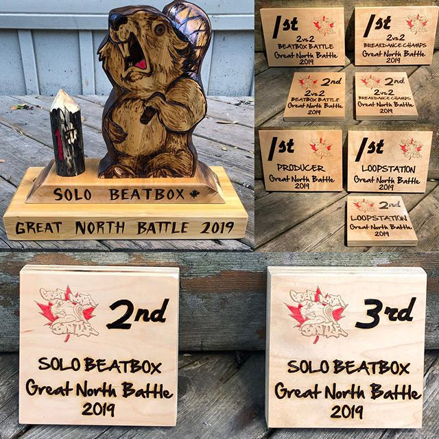 Some of the awards for the 2019 @beatboxcanada #greatnorthbattle event June 14/15th @thevelvetto 🌲🔥🎤 #Toronto