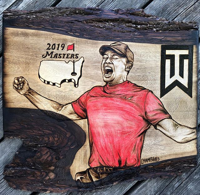 Tiger Tiger Woods Y'all 🌲🔥⛳️🐯 2019 Masters Champion commemorative #woodburning #pyrography #masters #tigerwoods #champstiles #pgatour