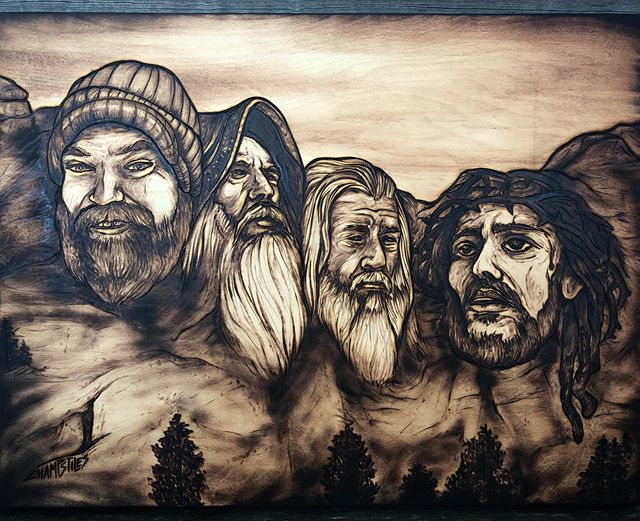 My 3rd Mount Rushmore #woodburning 🔥🔥🔥 celebrating the all-time beards of #Merlin #Gandalf #Jesus and my buddy #Jason 🌲🔥 #champstiles #mountrushmore
