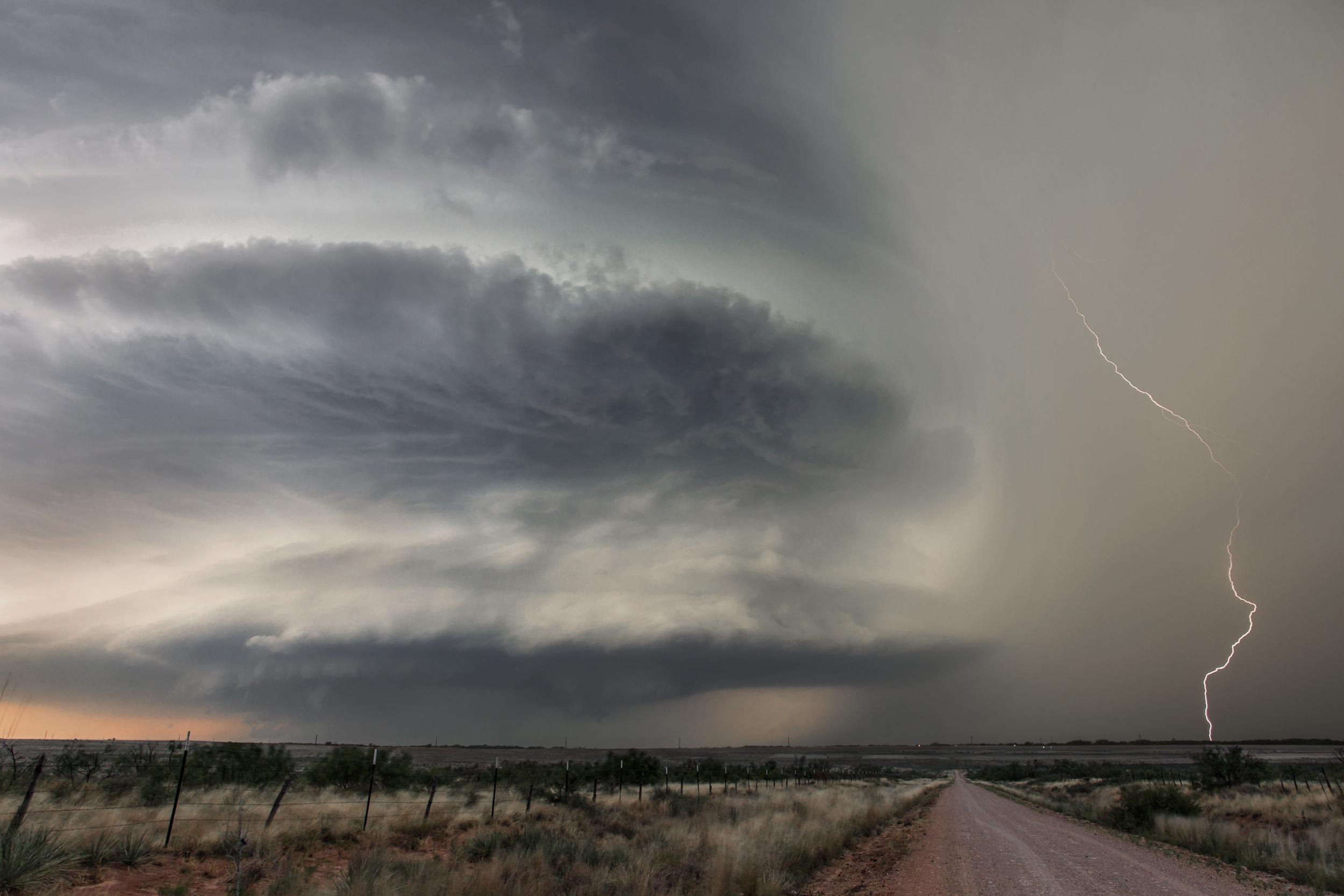 Mesocyclone and lightning near Waurika, Oklahoma on May 7, 2014