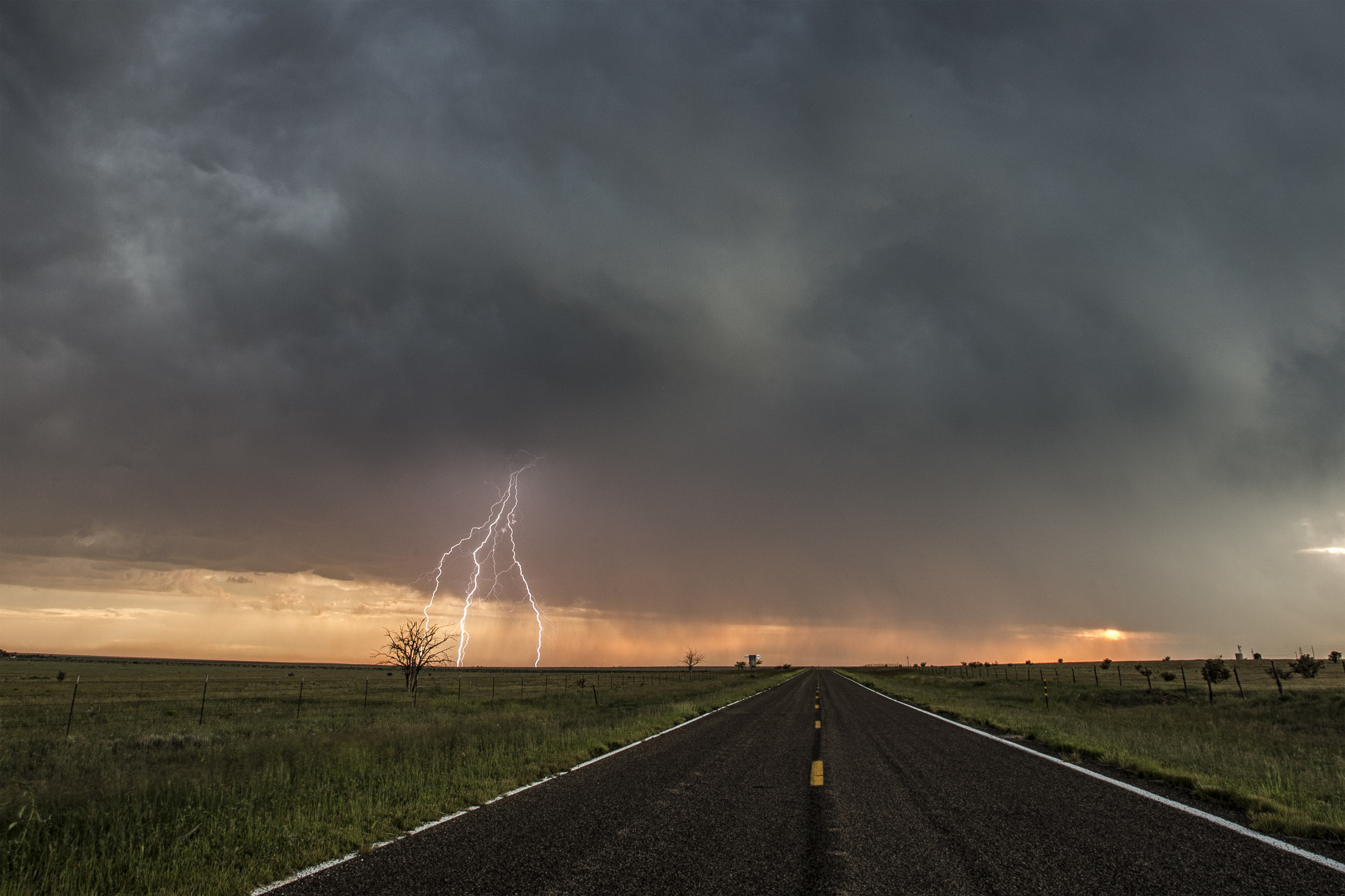 Lightning striking during a monsoon storm near Grady, New Mexico on August 17, 2013