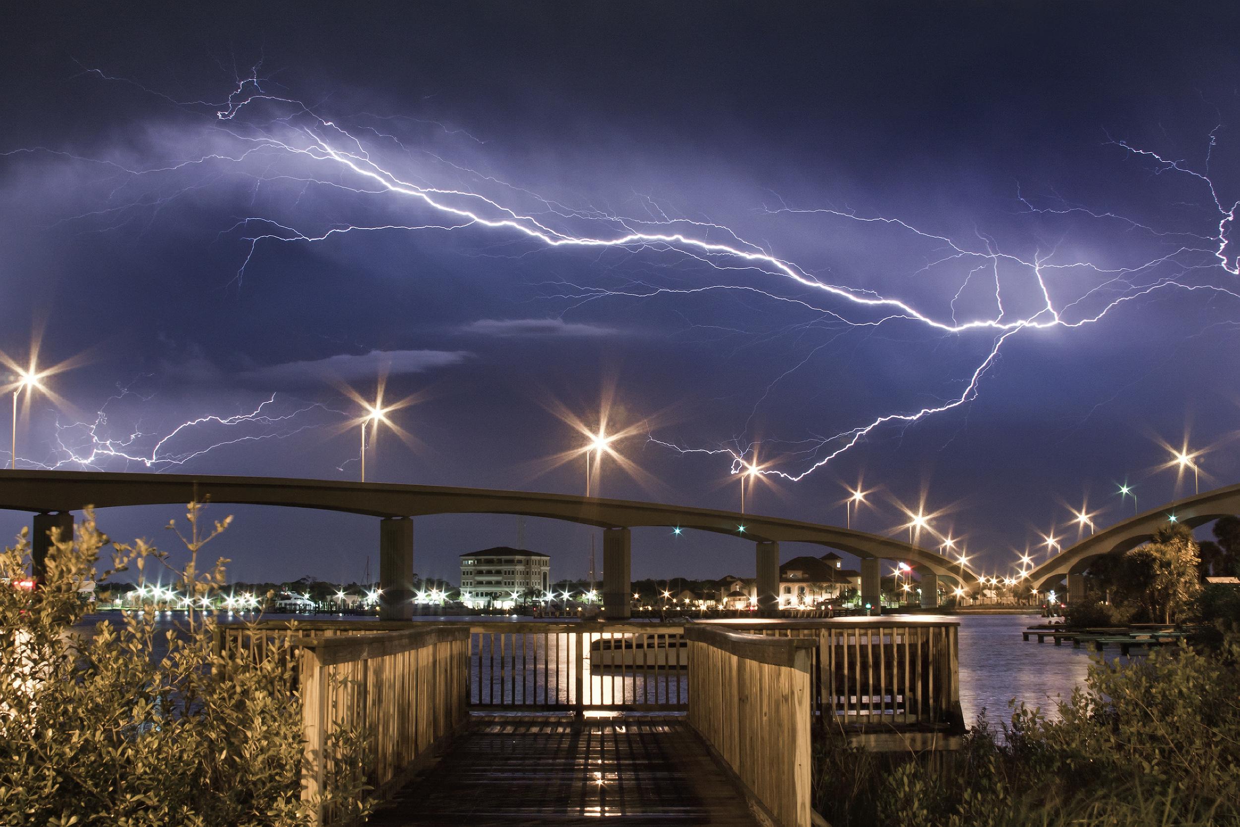 Lightning over the Seabreeze Bridge in Daytona Beach, Florida on April 25, 2010