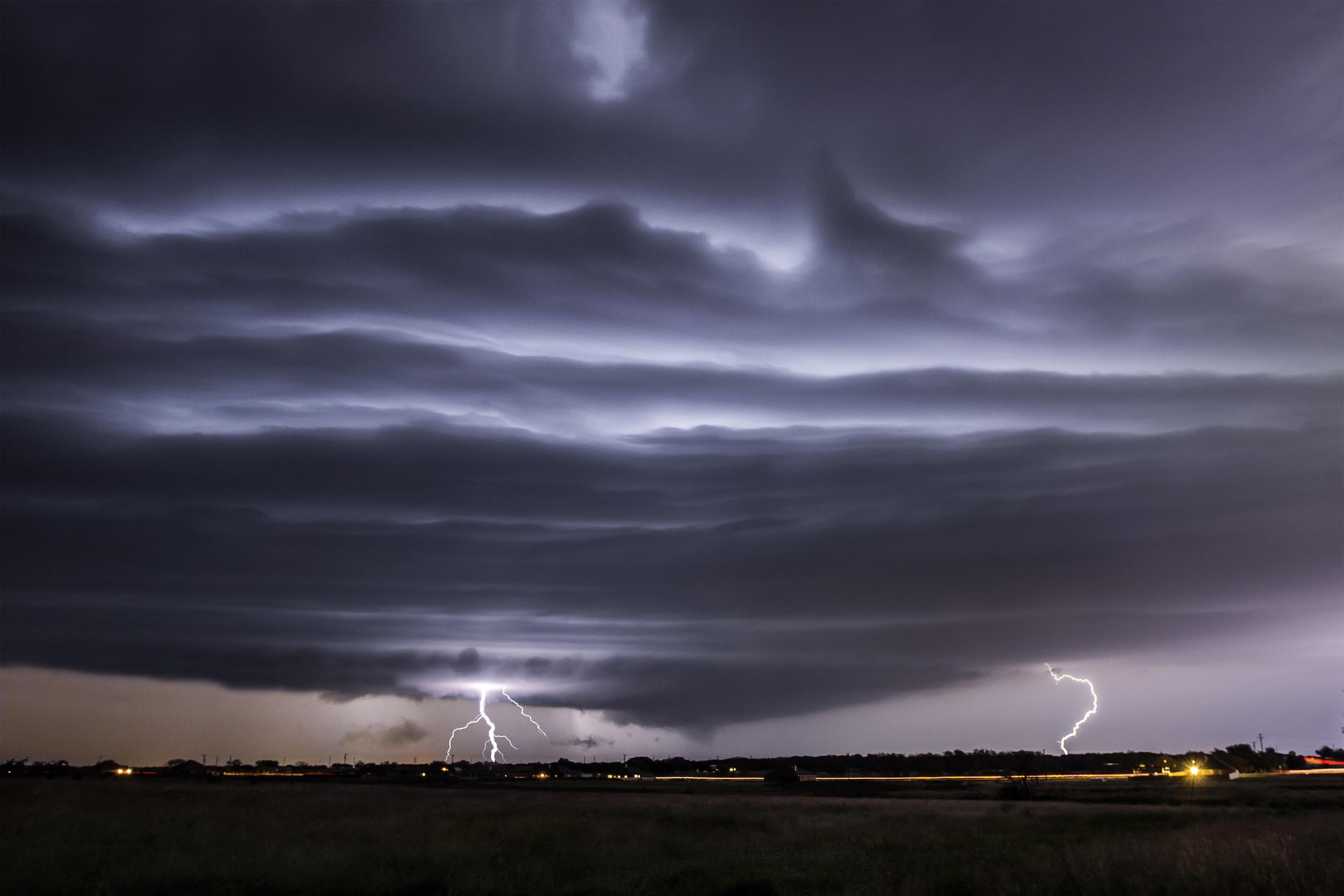 Lightning lit shelf cloud on October 26, 2013 near Salado, Texas