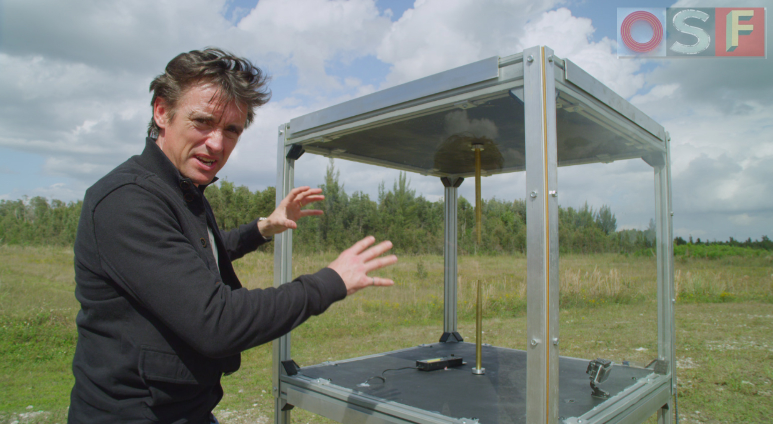 Richard Hammond explains the Franklin Box during filming for Wild Weather.