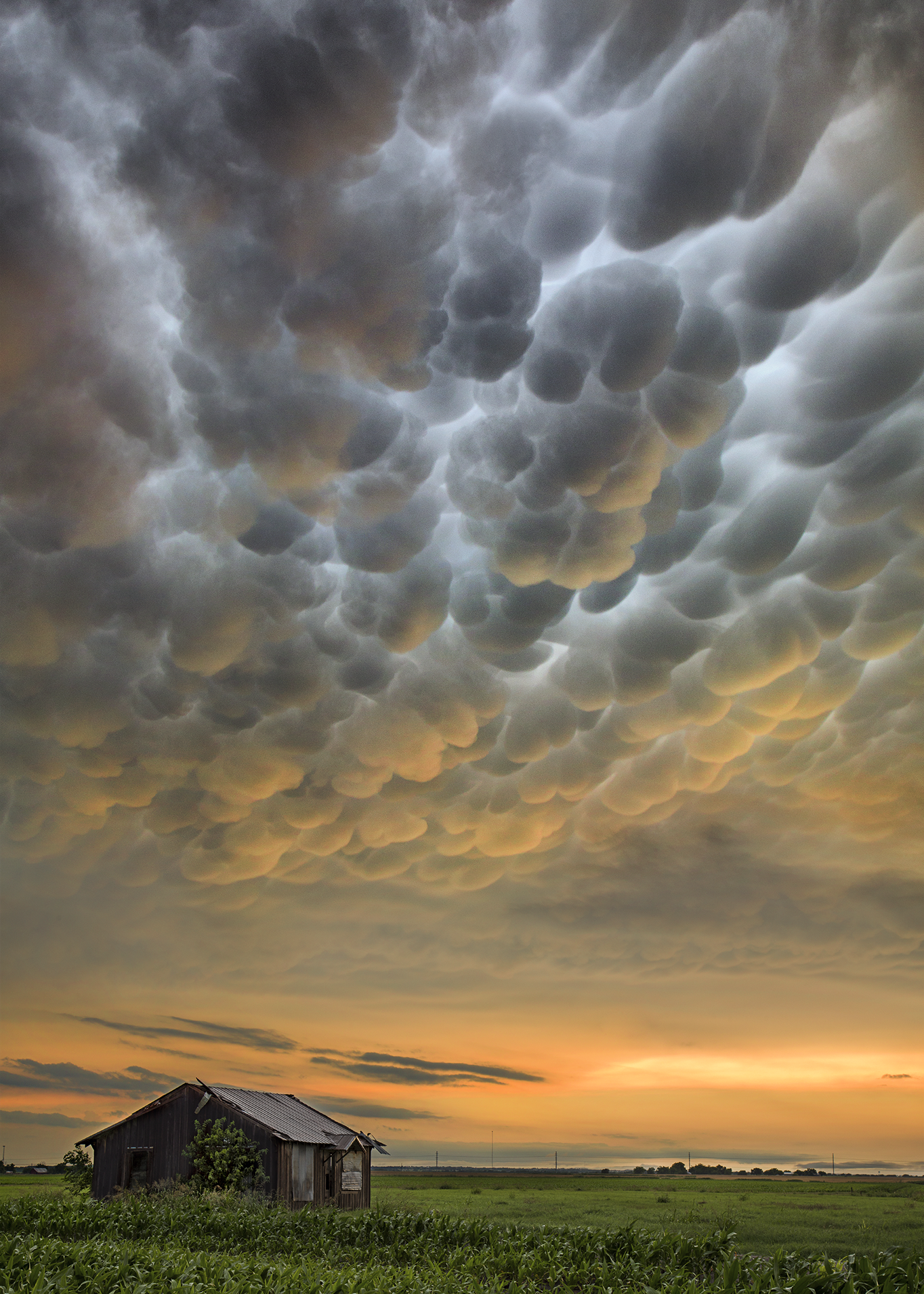 Mammatus clouds after tornadic supercells pushed through Central Texas on May 25, 2015.