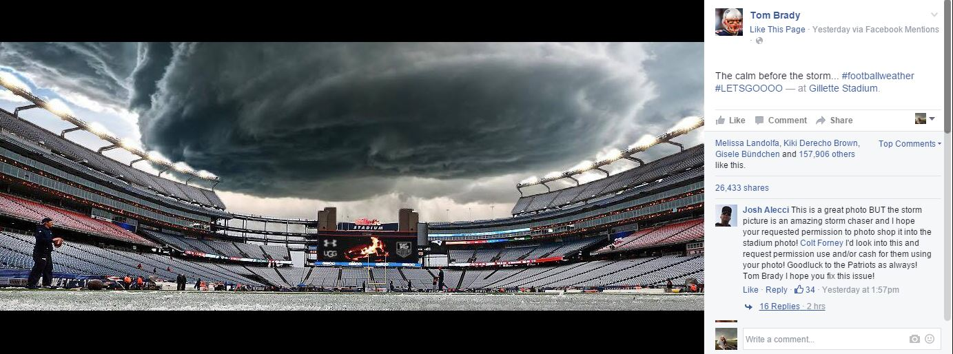 Colt Forney's image of a supercell in Wyoming, photoshopped over Gillette Stadium in Foxborough, Mass.