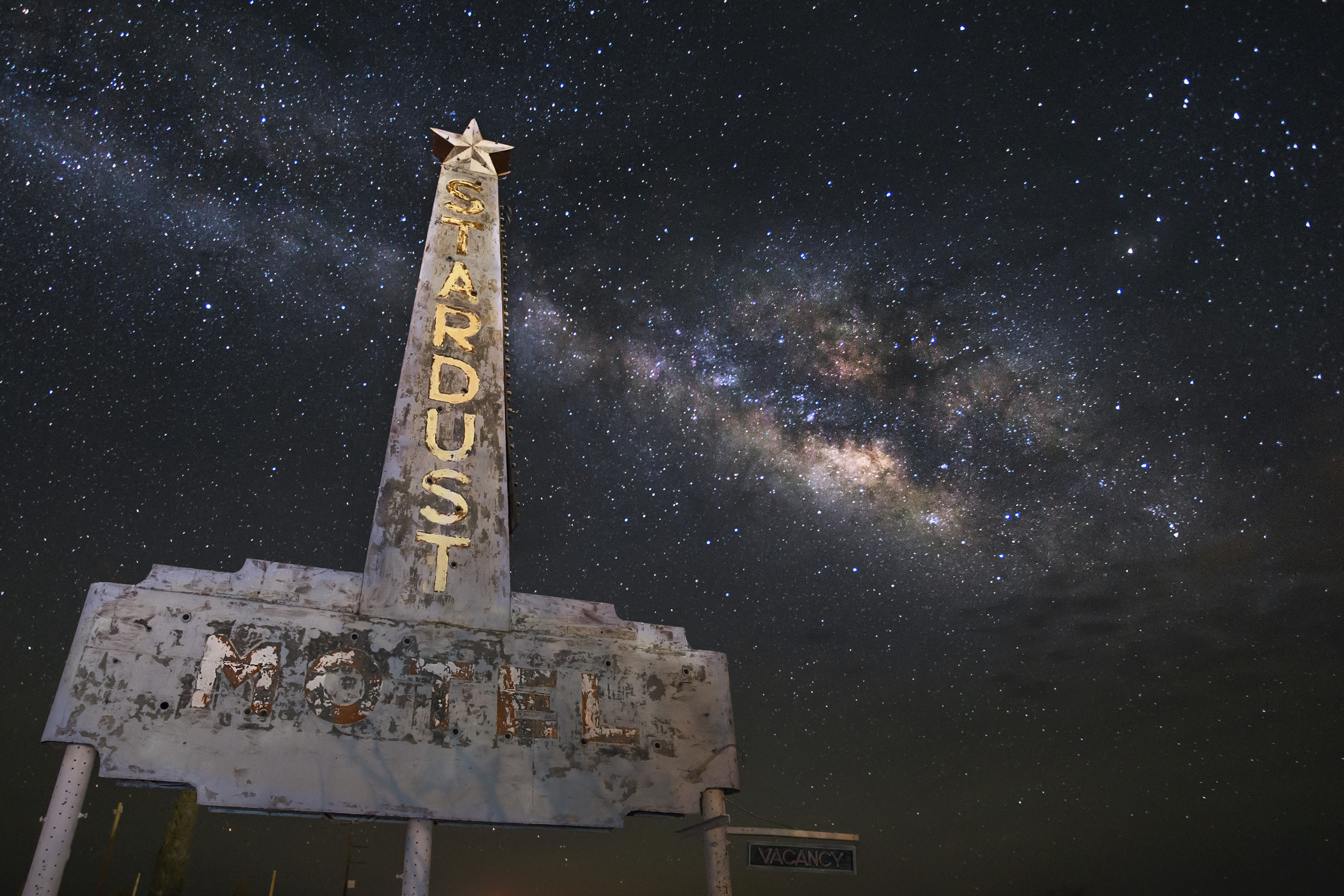 All that remains of the Stardust Motel in Marfa.