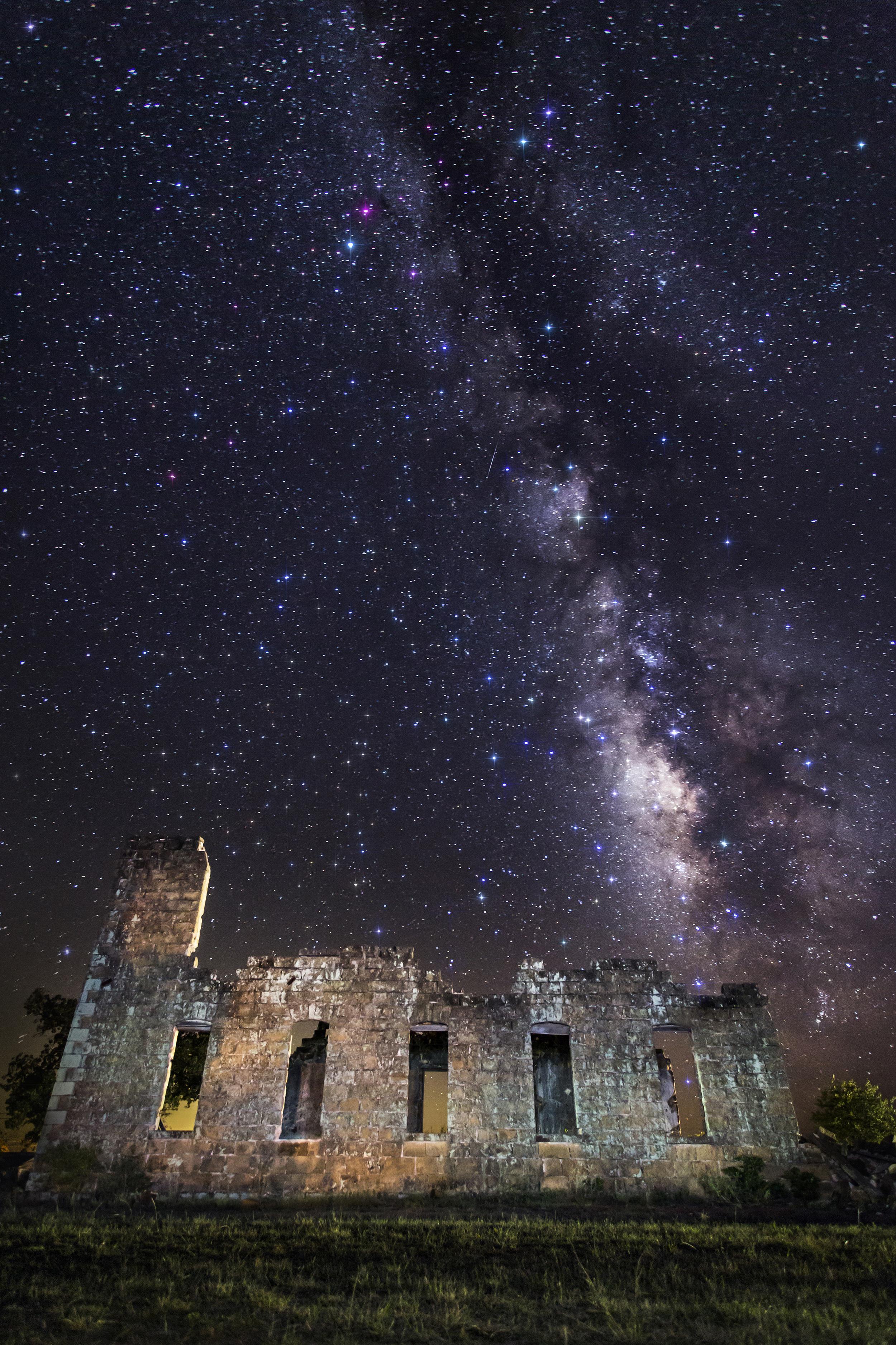 Milky Way over the San Fernando Academy ruins in Pontotoc, Texas.