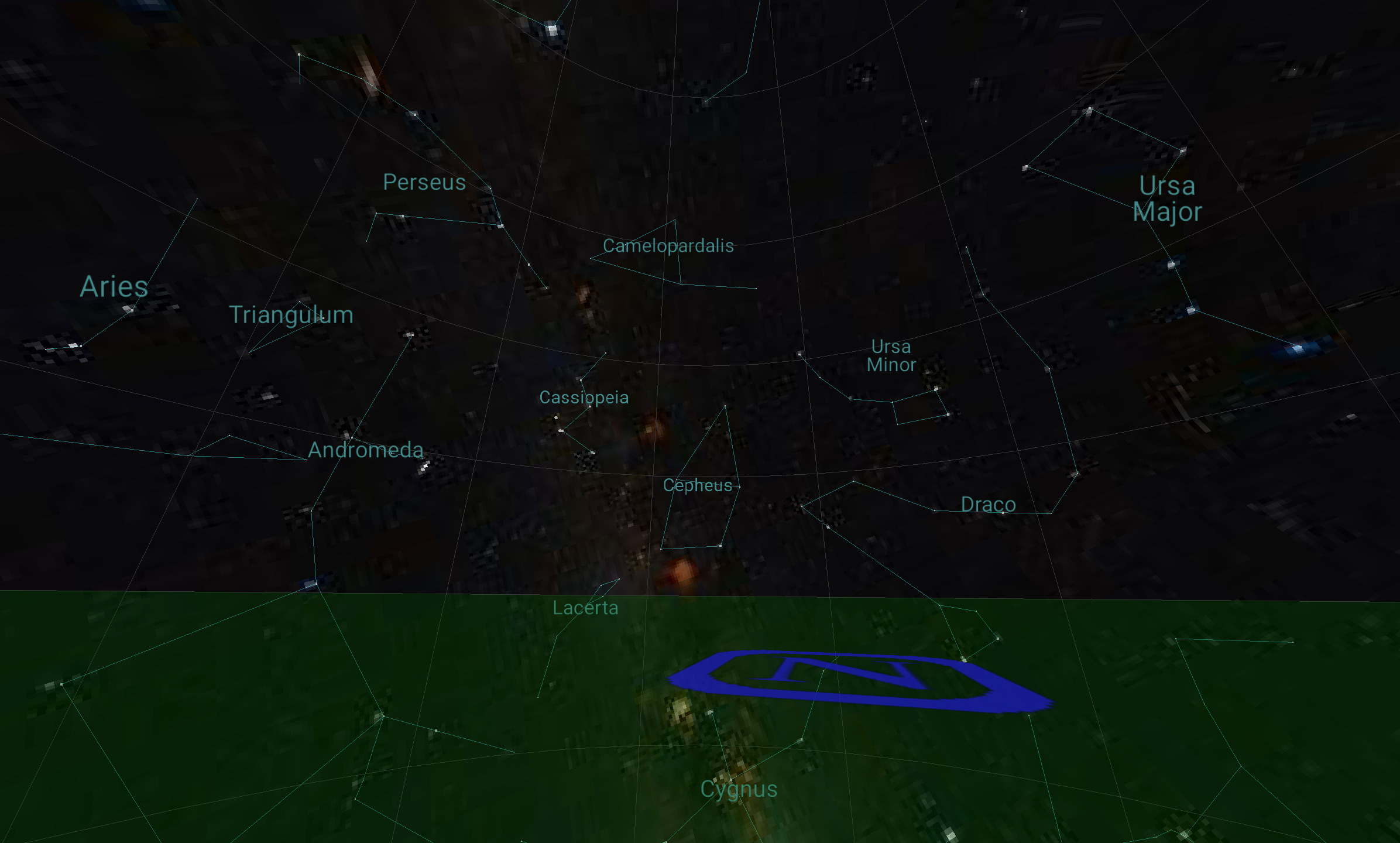 Planets screenshot showing horizon.