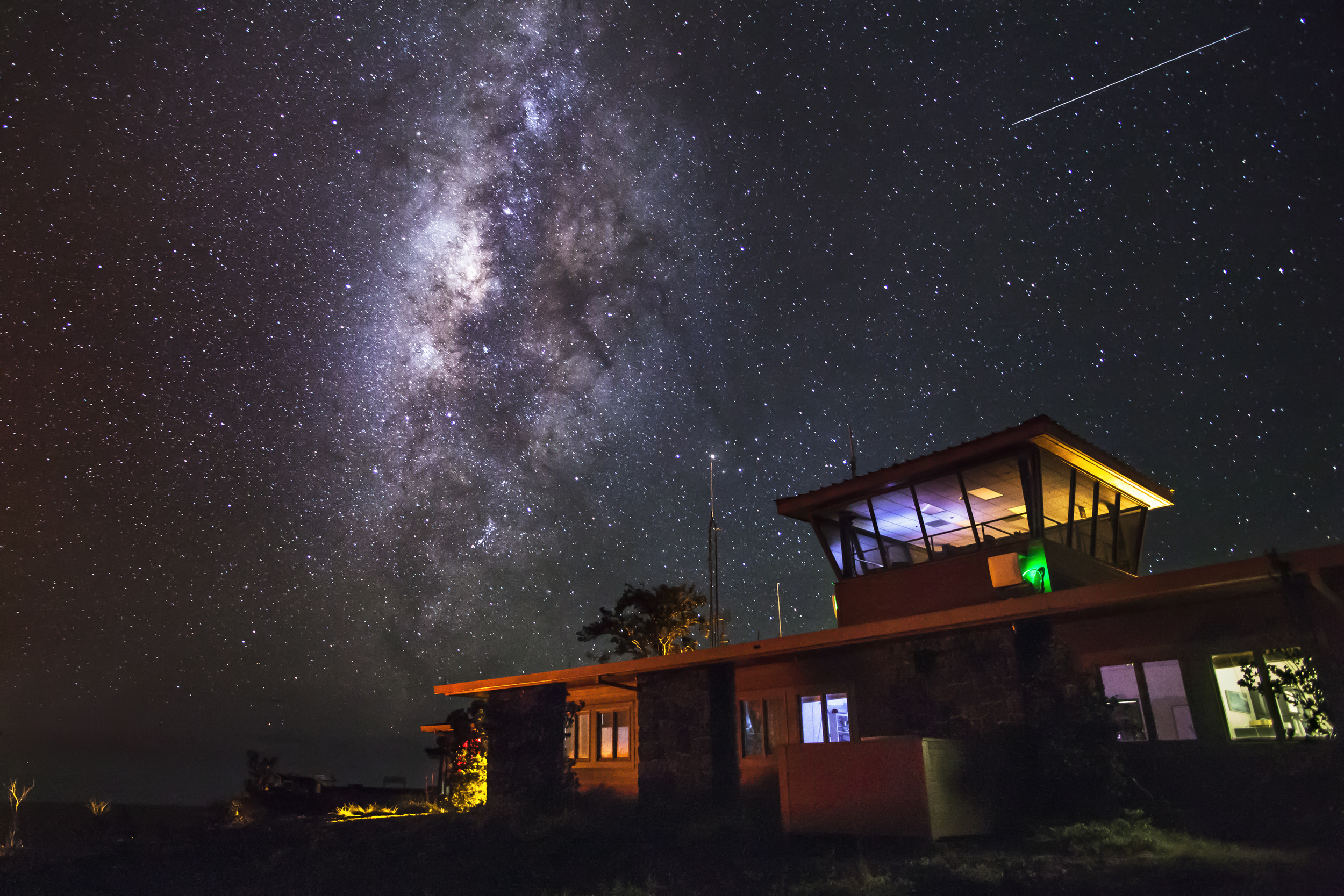 The Milky Way over the Jaggar Museum on the Big Island of Hawaii