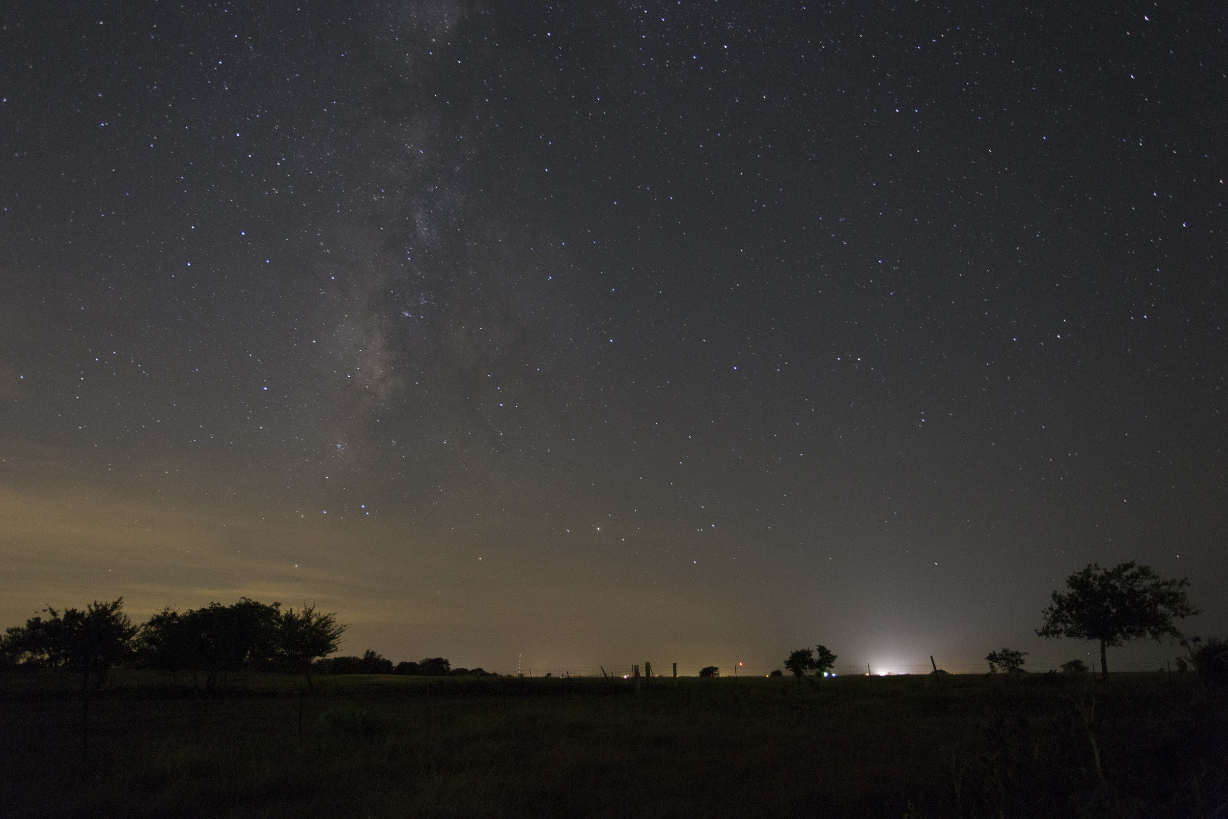 """Unprocessed Milky Way RAW. Notice the light pollution. I was in a """"Yellow"""" zone."""