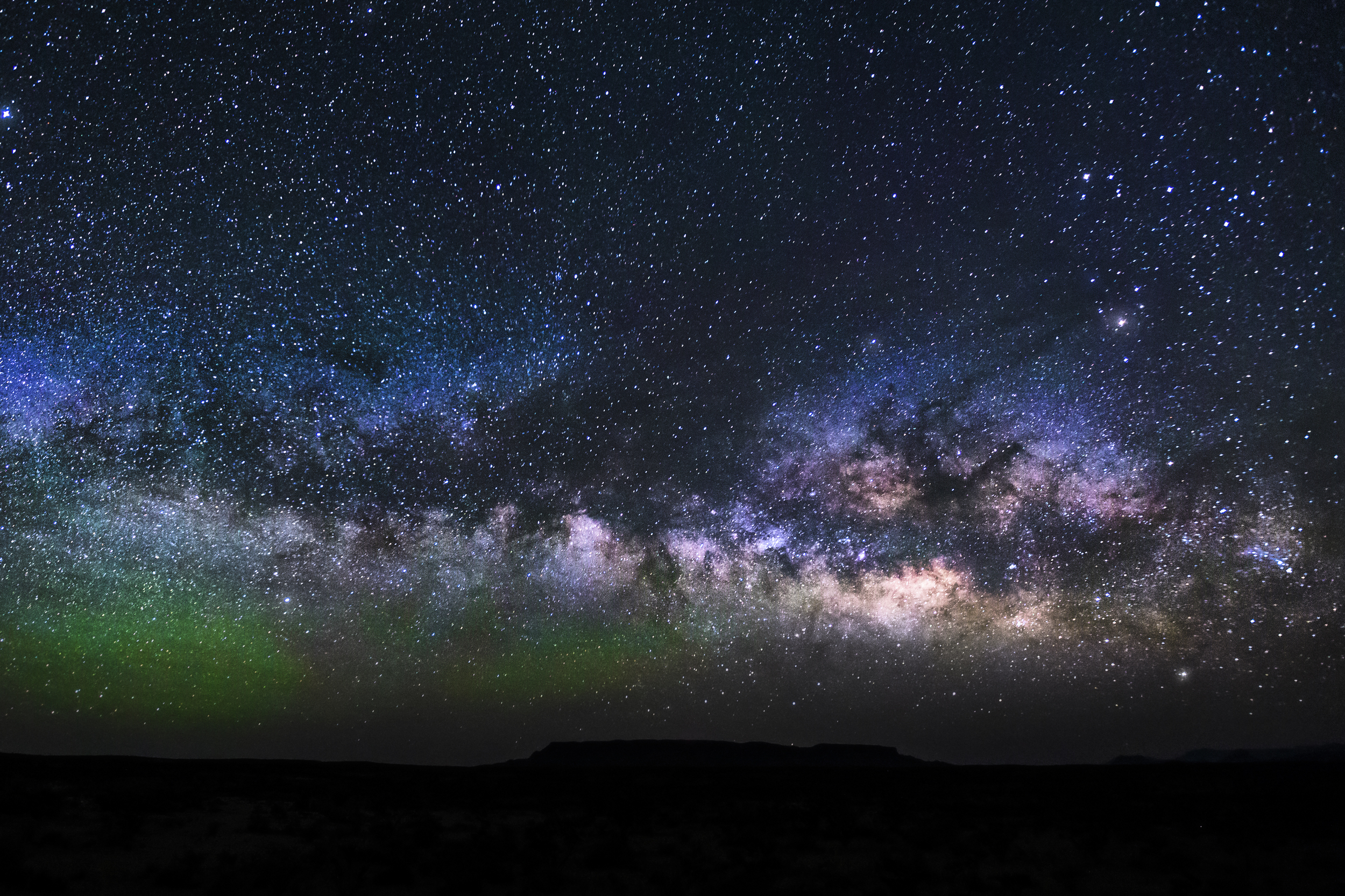 The Milky Way on the horizon as seen from Big Bend National Park.