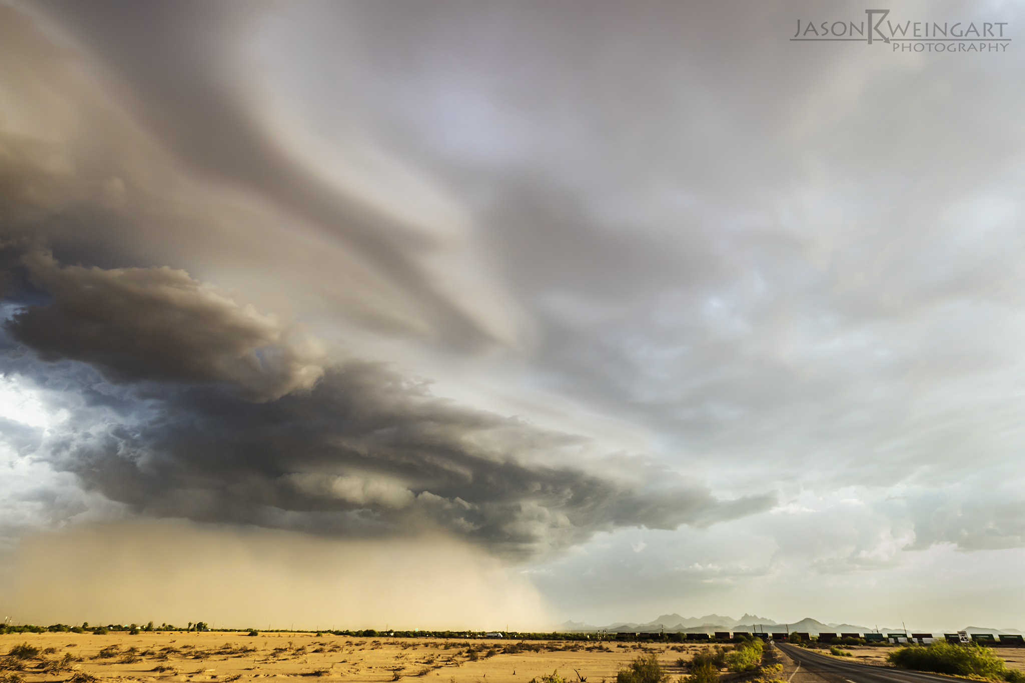 Dust stom approaching Red Rock, Arizona.