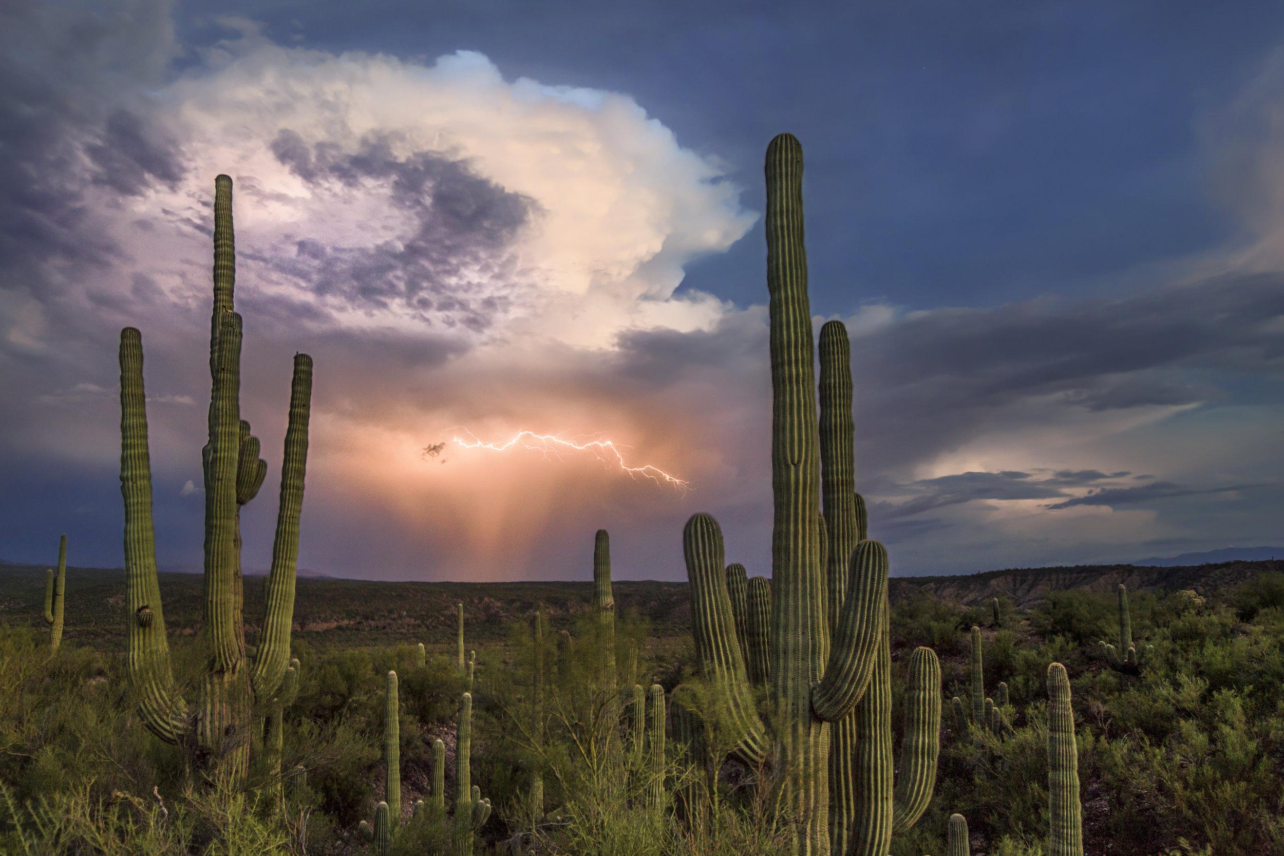 Thunderstorm approaching Christmas, Arizona. July 31, 2016