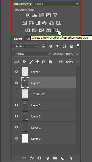 Create a New Adjustment Layer Panel