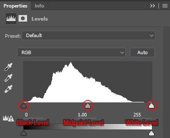 Levels Adjustment Layer Panel depicting the image's default histogram