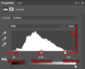 Histogram with Levels adjusted.