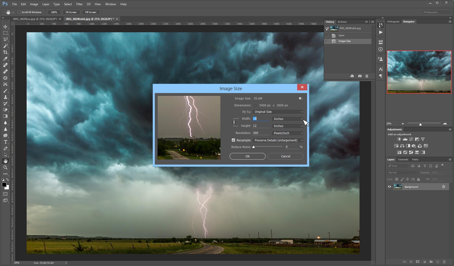 Photoshop's Image Size Panel.