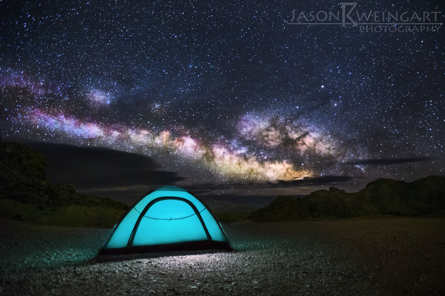 Milky Way rising over a tent we setup in Study Butte, Tx.