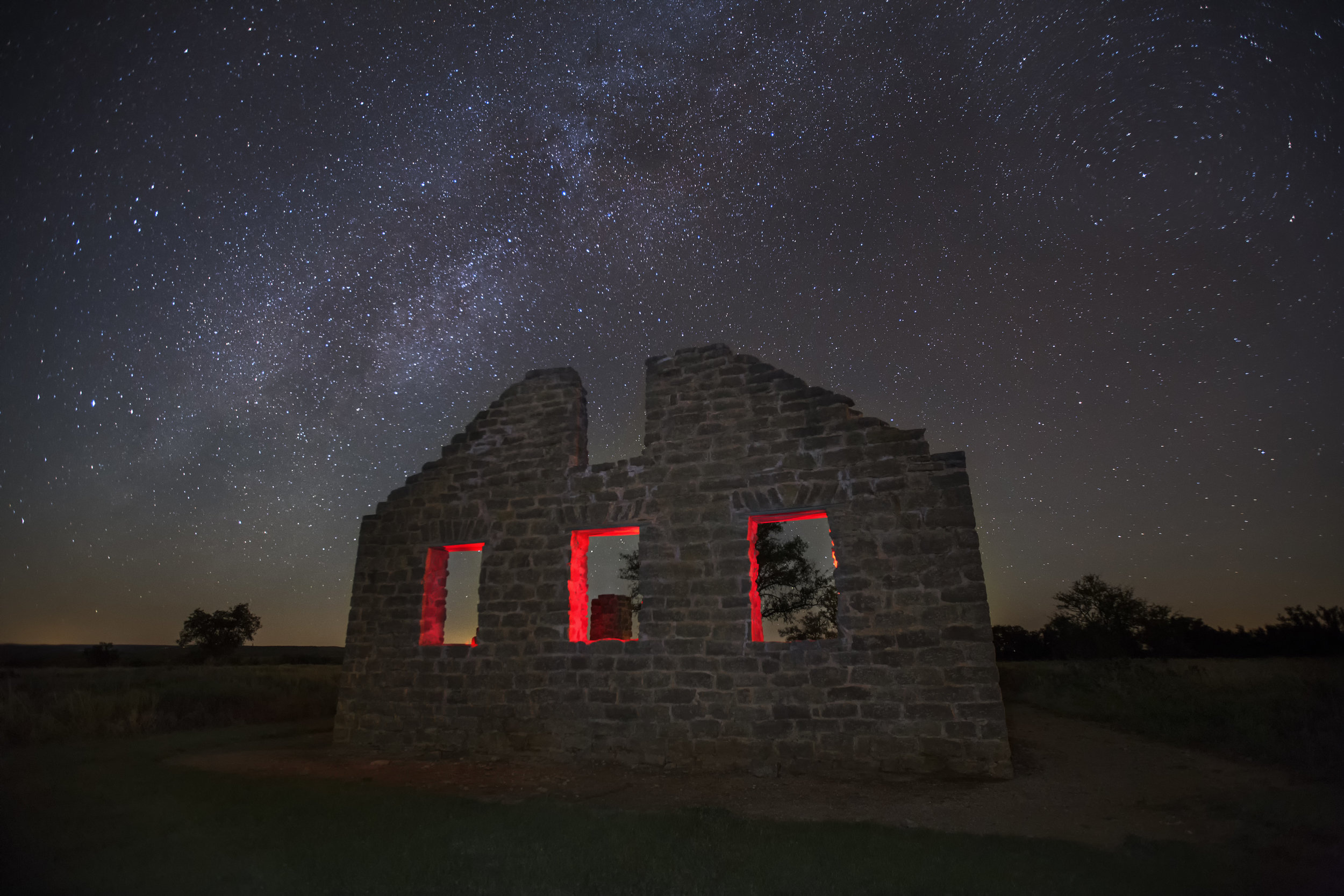 Stars over abandoned Fort Griffin, Tx.