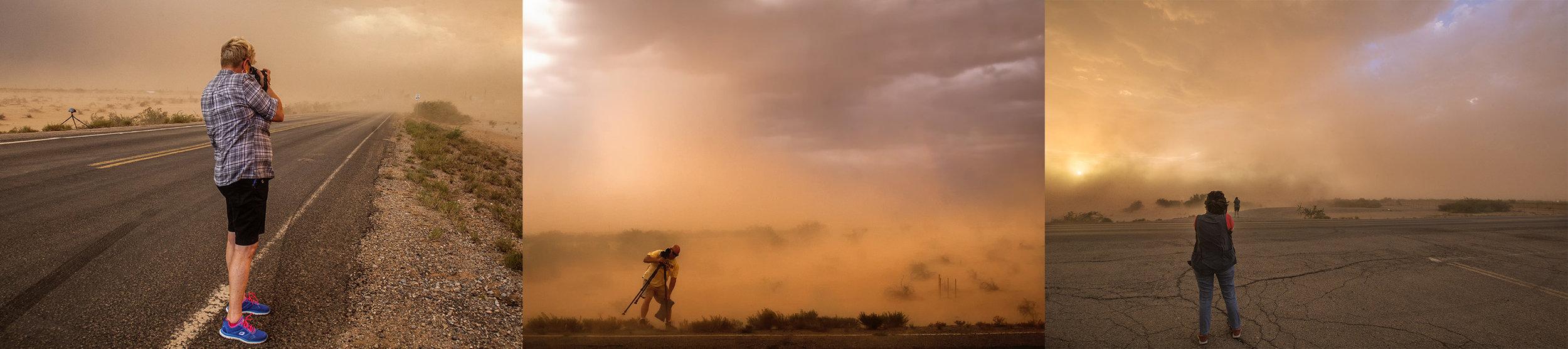 2016 Desert Monsoon Workshop participants photograph a dust storm in Picachio Peak, Az.
