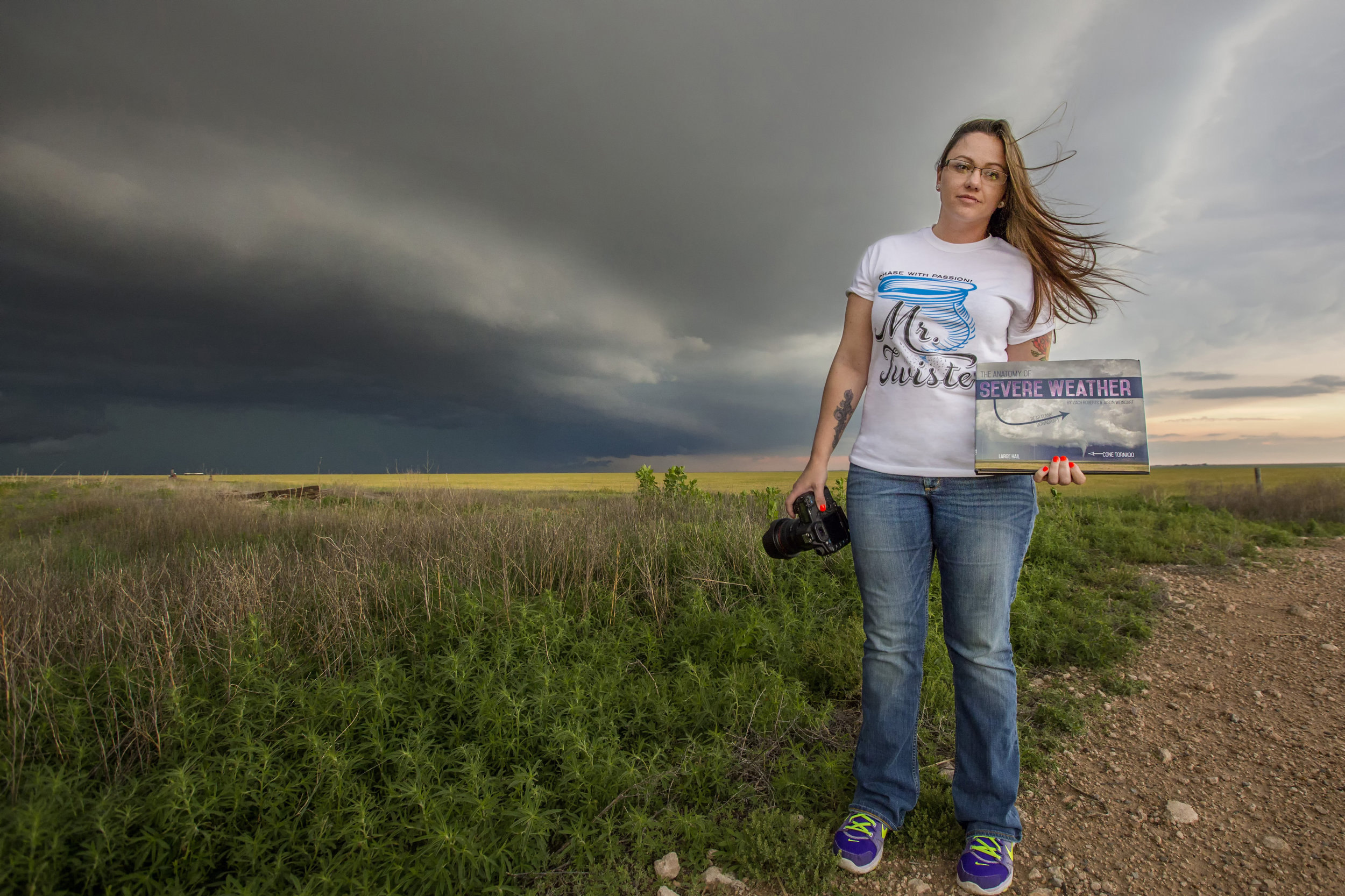 My beautiful Savannah with her copy in front of a supercell near Stratford, Tx.