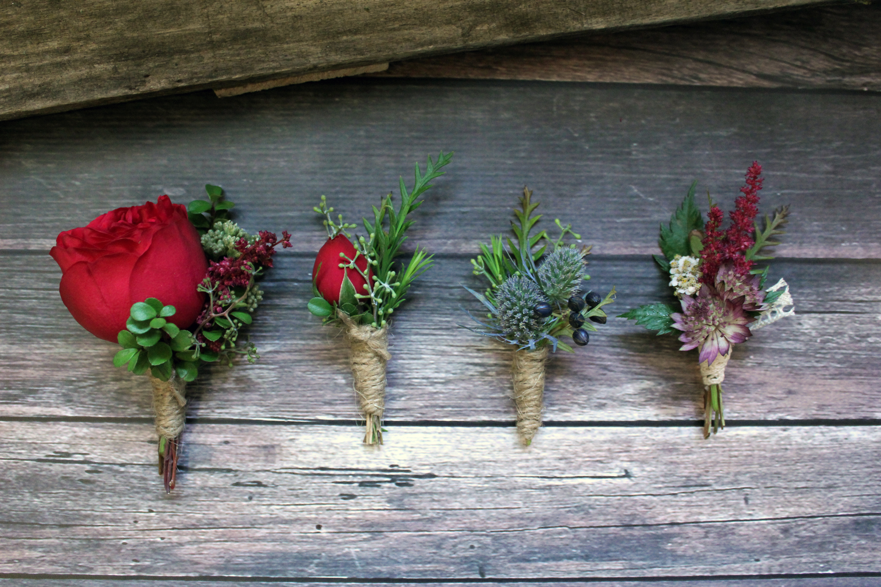 The set of boutonnieres for rustic natural style wedding, Floristika Studio