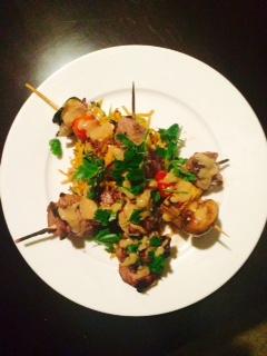 BBQ lamb satay skewers, maple syrup vegetable skewers and teriyaki BBQ noodles 2 .jpg