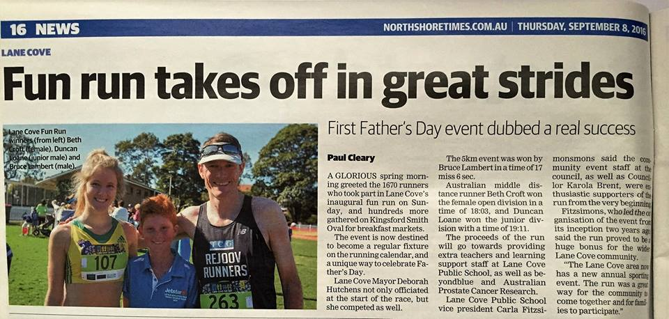 Bruce Lambert in the Northshore Times newspaper winning the Lane Cove 5k fun run.