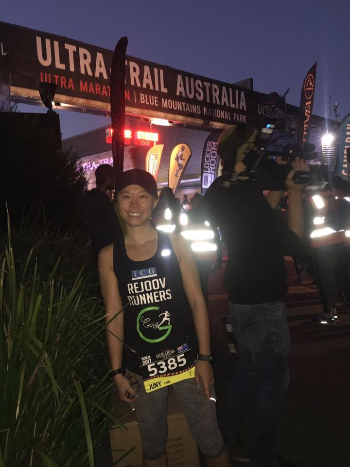 Juny at the start of her 50k debut ultra - congrats Juny