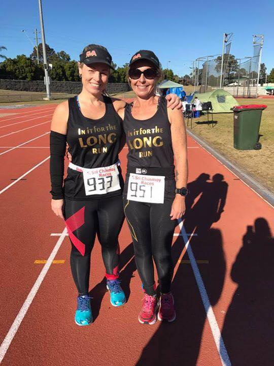 Tracey Hind & buddy looking fresh at the 24 hour Sri Chinmoy track event July 2017