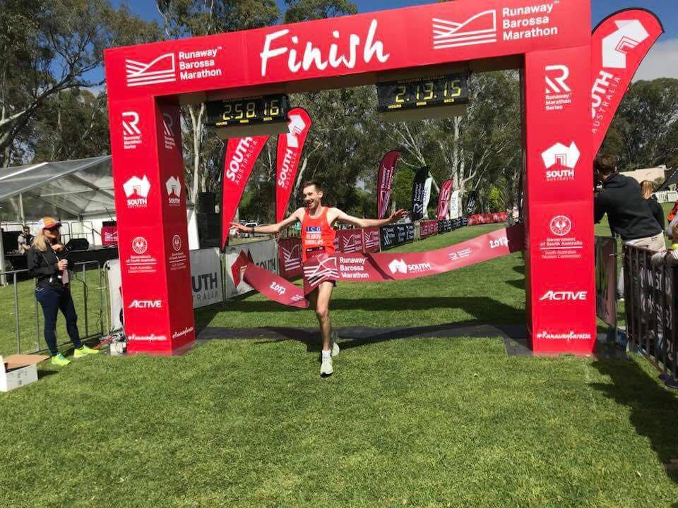 Oliver Gissing takes the win in the Barossa Valley marathon 2.52