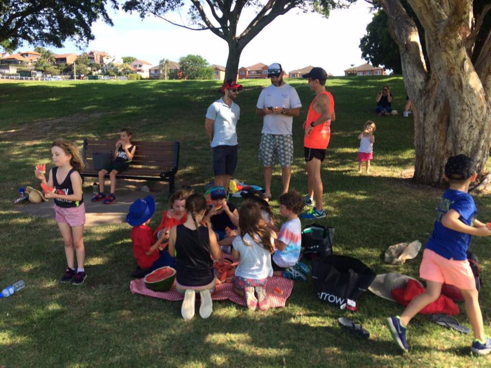 QP kids on a hot summers day december 2017 but we kept cool with water based running games & delicious watermelon from mum Georgina owner Maloneys grocer, Coogee bay road