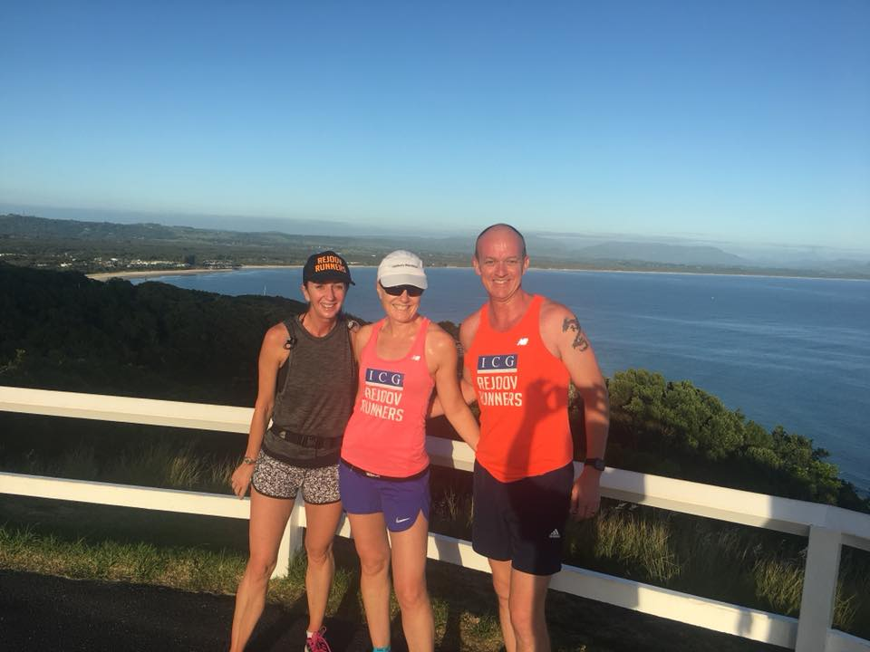 Lisa sherman (centre) with husband grant and running buddy adrienne Taylor on a holiday run at byron bay