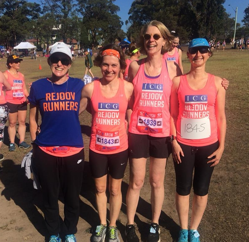 Susan 2nd from right with rejoov buddies at the answ miranda 4k relays 2018