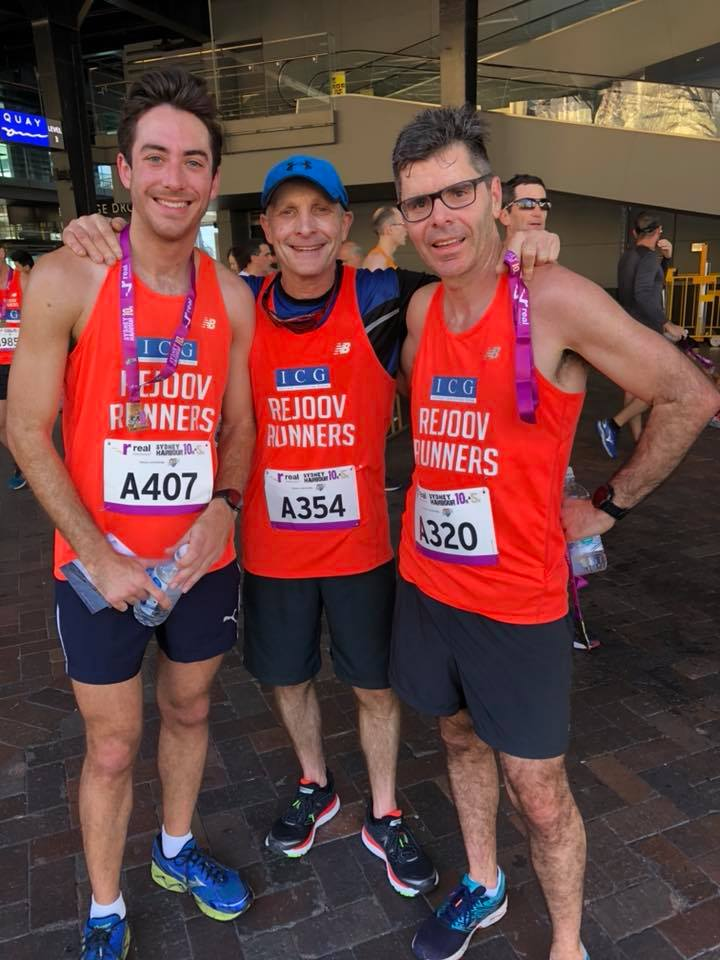 Ben feld (centre of pic) sydney Harbour 10k in pb 37.20 july 2018 with rejoovers jesse hanna and matt wacher