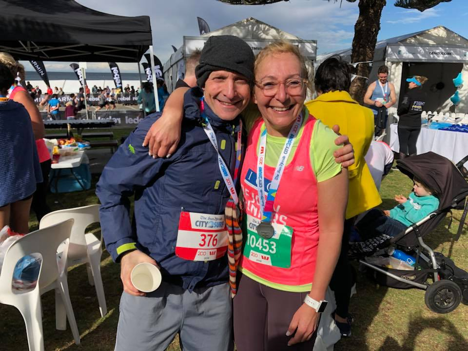 Ben Feld 52mins and his sister lisa studencki after the city to surf 2018. both very happy.