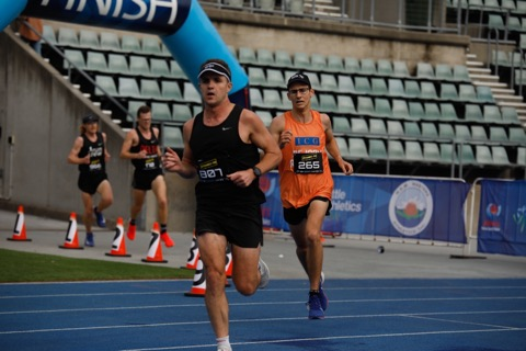 Dom staying ahead of Athletics NSW co-ordinator James Constantine. Epic race post marathon!!