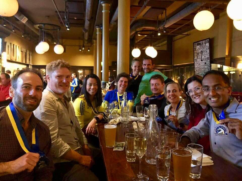Rejoovers & Hurt squad mates at celebratory drinks post marathon