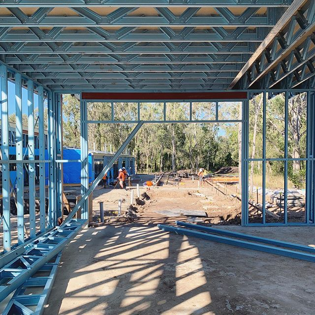 Outlook over the beautiful bushland setting from the reception building at #jha_littlevillage early learning. Gorgeous (and massive!) shady outdoor play areas still to come by @arcpanel_au 🥰🍃