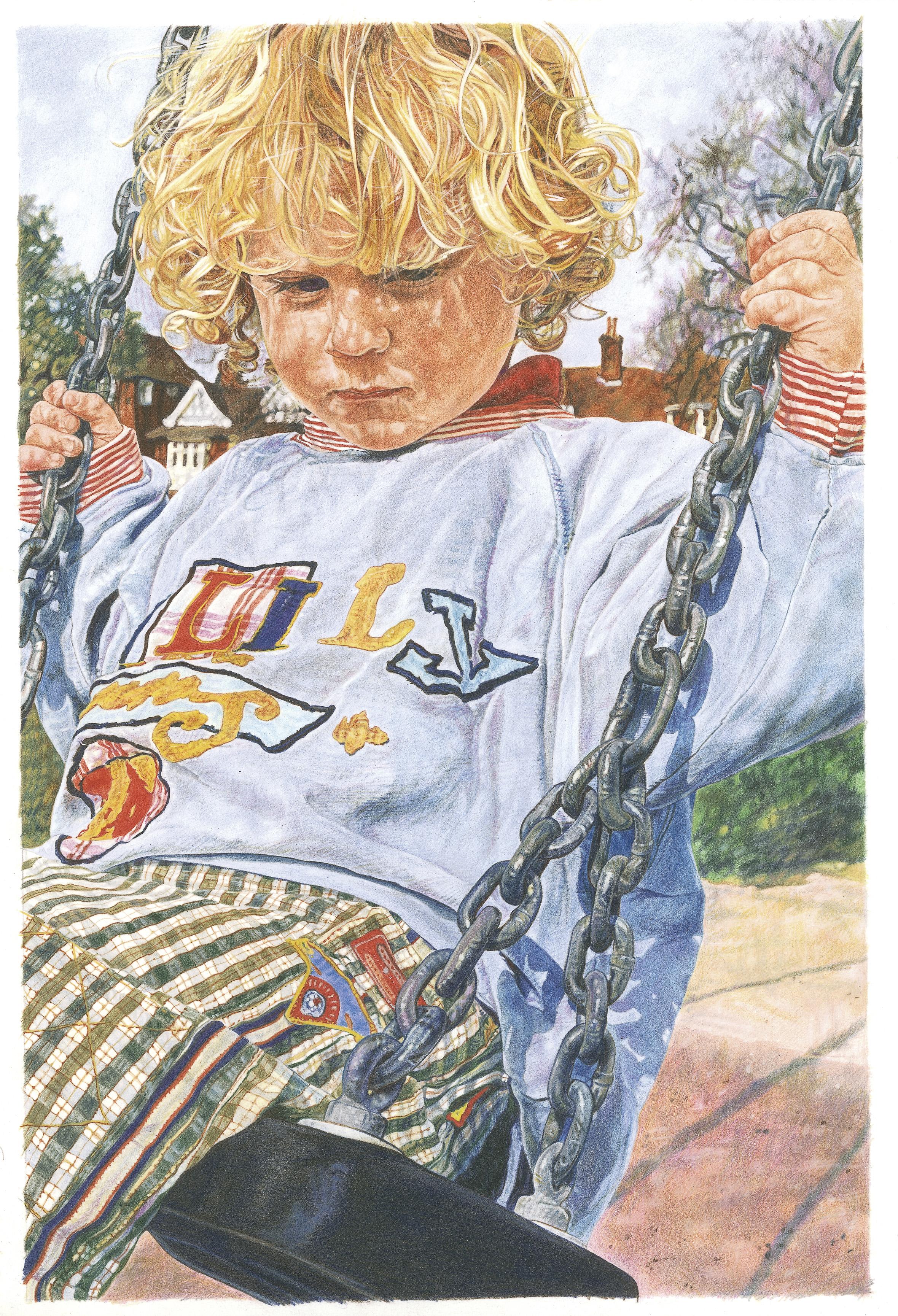 'Boy on swing' Colour Pencil 29cm x 42cm