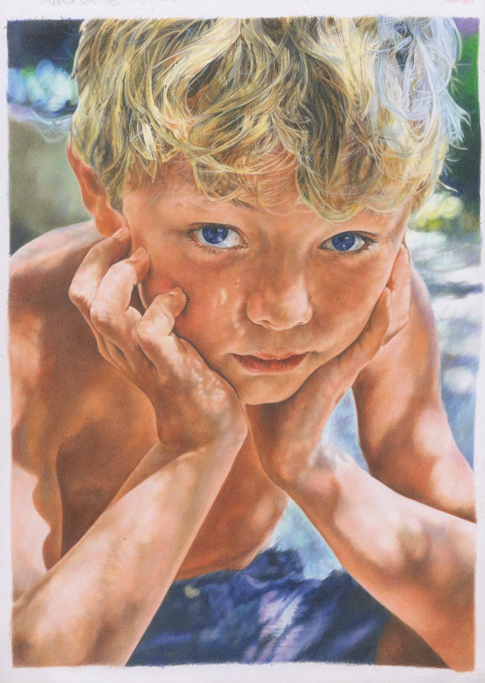 'Dappled Son' Colour Pencil 29cm x 42cm